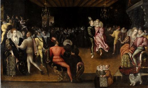 Anonyme, scène de bal, dit Bal à la cour des Valois, fin du XVIe siècle. Huile sur toile. H.94 ; L 155. Blois, Musées du château, inv 873.3.2.