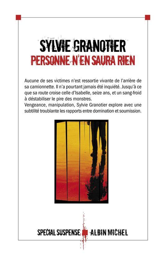 Sylvie Granotier Personne n'en saura rien - Editions Alnin Michel