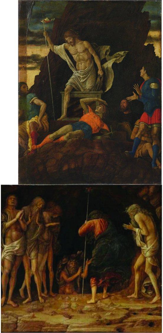 Reconstitution des deux tableaux de Andrea Mantegna. Dans la partie haute : Résurrection du Christ (Accademia Carrara Bergame). Dans la partie basse : La descente dans les Limbes (collection privée)