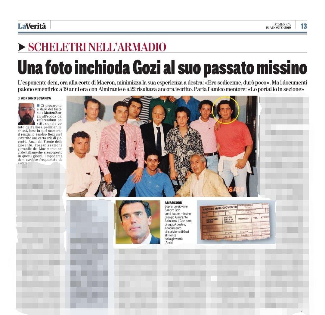 """Article de """"La Verità"""" du 18 août 2019 (photos Ansa)"""